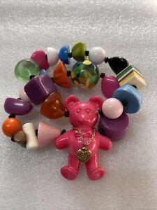 Betsey Johnson Sweetie Pie Lucite Pink Bear Stretch  Bracelet Rare