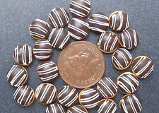 1:12 Scale 7 Loose Chocolate Stripe Doughnuts Dolls House Bakery Cake Food PL140