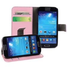 For Samsung Galaxy S4 Mini i9190 i9195 Pink Genuine Leather Wallet Case Cover