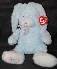 "Ty  Blue Bunny Rabbit Ear Tag Baby Hop  11"" Plush Stuffed  Bean Bag Lovey Toy"