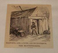 1878 small magazine engraving ~ HOTEL AND PROPRIETOR, California