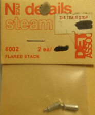 Detail Associates N Scale #8002 Flared Stacks -Steam-