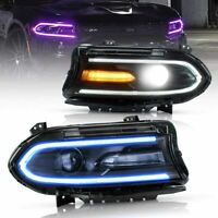 Custom LED Multicolor DRL Projector Sequential Headlights for 2015-2020 Charger