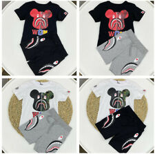 1 Set Kids Bape Camo Bear WGM Shirt+Shark Pants Summer Shirt Top Tee