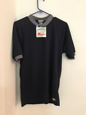 TREK USA Cycling Bike Jersey Shirt Men's Size S. Solid Blue W/ Gray Trim