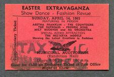 1963 Supremes Aretha Franklin Freddie King Contours Unused Full Concert Ticket