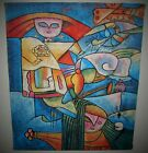 Acrylic Coconut Fiber Picasso Style Cubism Painting B LONG