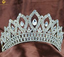 "Miss Pageant Tiaras Wedding Bridal 3.5"" Crowns Crystals Contoured Gold Heaband"