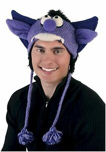 New DeLux Vampire Monster Purple Wool Pilot Hat with Ear Flaps