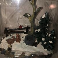 Lemax Village Collection Landscape Accent rabbits cardinal well trees snow