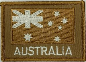 Khaki Tan Australia National Flag Patch hook & loop backing.