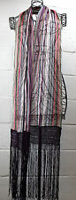 MISSONI Multi-Color Purple Burgundy Pink Teal Stripe Fringe Long Scarf Italy
