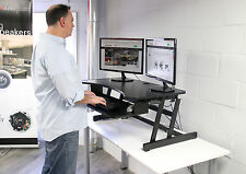 """Rocelco Deluxe Height Adjustable Sit/Stand Desk DADR 37.5"""" wide fits 2 Monitors"""