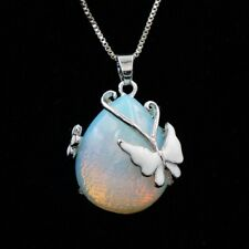Moonstone Enamel Silver Butterfly for Womens Pendant Necklace Jewelry Gift NL198