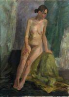 """Russischer Expressionist Öl Leinwand """"Akt"""" 100 x 80 cm"""
