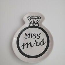 Wedding Ring Trinket Tray NEW Ceramic Black & White