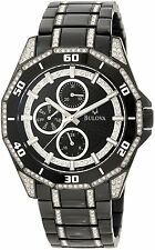 Bulova Men's 98C111 Crystal Accents Chronograph Black Stainless Steel Watch