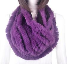 Xmas Real Farm Rabbit Fur Hand Knitting Circle Scarf Neck Wrap Collar Women Gift