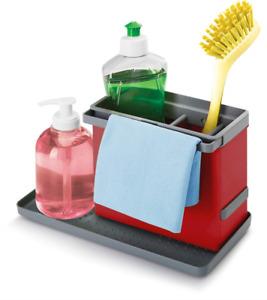Metaltex Tidytex Kitchen Sink Organiser Plastic ABS–24x 13x 14cm Red/Grey