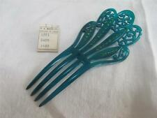VINTAGE 1920's ART DECO BRIGHT GREEN CELLULOID & RHINESTONE HAIR COMB