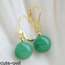 Handmade 12mm Green Round Jade Gemstone Yellow Gold Plated Earrings Leverback