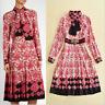 17 Occident fashion lapel Modern Vintage printed long-sleeve elegant dress SMLXL