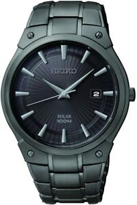 Seiko Solar Black Dial Black Ion Plated Stainless Steel Men's Watch SNE325