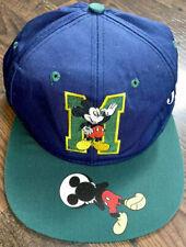 Vintage Mickey Mouse Hat Blockhead Blue Green Disney Unlimited Snapback Cap RARE