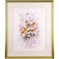 Original Signed Framed Traditional Flower Painting Still Life Watercolour - 1995