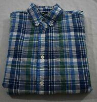 Chaps Men's Medium Blue Green Plaid Button Up Shirt Short Sleeve