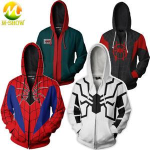 Spider Man Miles Morales Cosplay Hoodie Men Zip Up Hooded Sweatshirt Jacket