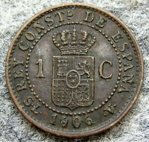 SPAIN ALFONSO XIII 1906 1 CENTIMO, BRONZE ONE YEAR TYPE