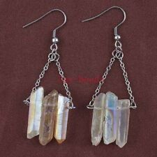 Silver Plated Natural Quartz Crystal Clear AB Color Stone Hook Dangle Earrings