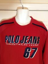 VTG POLO JEANS CO by Ralph Lauren MEDIUM Red Heavy Long Sleeve Sweat Shirt Sewn