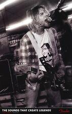 Fender Affiche ~ Kurt Cobain de Nirvana Guitare Jaguar Nevermind On Amp En