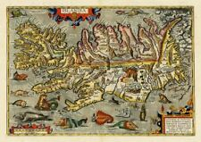 ISLANDIA ICELAND VINTAGE MAP A3 ART PRINT PHOTO POSTER GZ6070