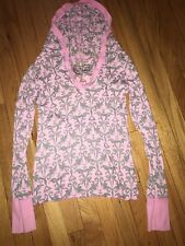 Erge Designs Pink Gray Baroque Floral Thermal Knit Top Long Sleeve Hooded Sz XS