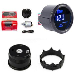 """2"""" 120 PSI Blue LED Digital Car Oil Pressure Gauge Warning Light With Sensor"""