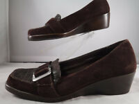 PFR Aerosoles Temperature Brown Suede Leather Wedge Loafer Shoe Women's 6.5 M