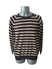 Mens FRED PERRY Sportswear Large Navy Mix Striped Thin Knit Jumper Sweater