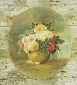 Unframed Antique Oval Watercolour Still Life Flowers Painting Signed AG Dawe