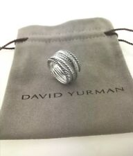 David Yurman Sterling Silver Diamond Crossover Cable Wide Band Ring Size 9