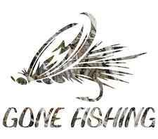 "8"" Camouflage Gone fishing skillet funny sticker cool gift for him fly decal"