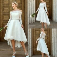 Off Shoulder Wedding White Ivory Dresses Bridal Gowns High-Low Full Laced A Line