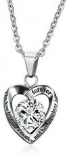 Stainless Steel CZ Cubic Zirconia Heart Shaped Love Pendant Necklace Jewelry