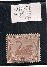 Western Australia stamp three pence 3d 1872 P14 mint unused hinged wm cr ca