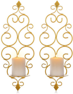 Sziqiqi Iron Wall Candle Sconce Holder Set of 2 Hanging Wall Mounted Pillar Cand