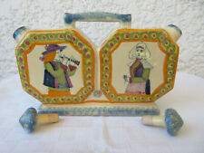 Huile vinaigre Henriot  Quimper à décor  personnages bretons