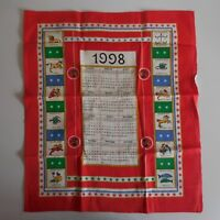 Torchon calendrier 1998 signe astrologique textile collection rouge France N3358