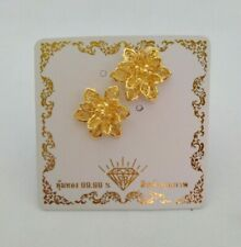 Baht Stud Jewelry Design Gp Women Flower Floral Earrings 24k Gold Plated Thai